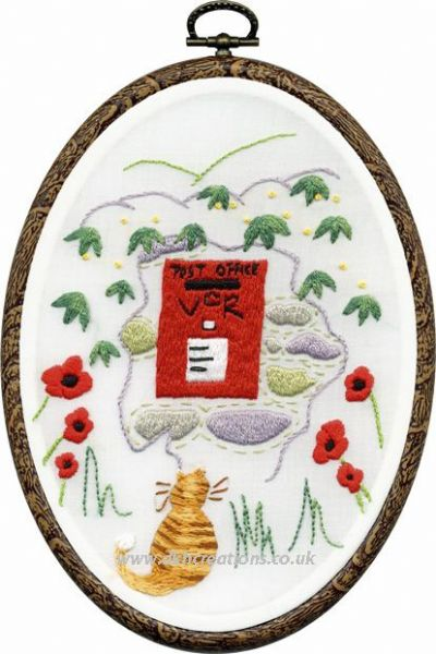 Post Box Embroidery Hoop Kit
